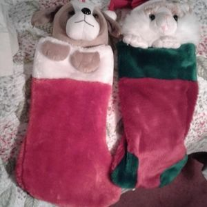 Two Animal Christmas Stockings Cat …